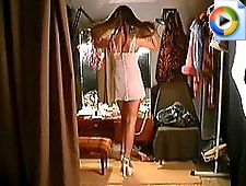 3 movies - This is the hot video with the long haired lingerie girl looking absolutely hot and really turning on when defiling in high heels before the mirror an