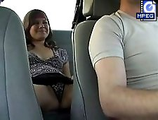 3 movies - Wild gal sitting on the back seat of the car spreads and pets her nude pussy