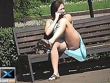 2 movies - Voyeur upskirt pussy of fat assed amateur woman talking on the phone in the park