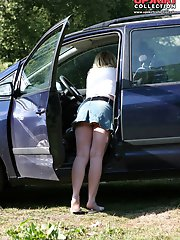 12 pictures - Car upskirt. Stooping chick flashed her great upskirt view